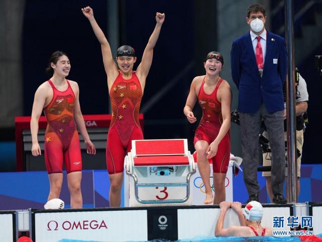 中国队女子4×200米自由泳接力夺金,汤慕涵为广东拿到第二金!