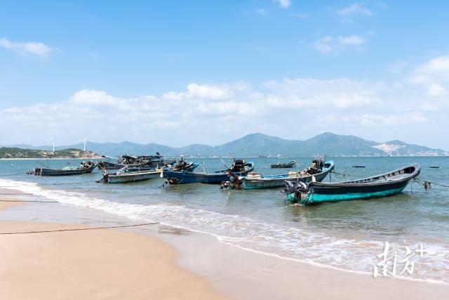 10月5日,汕尾风车岛施公寮海滩,蓝天碧海,渔船成排。幽鸣 摄