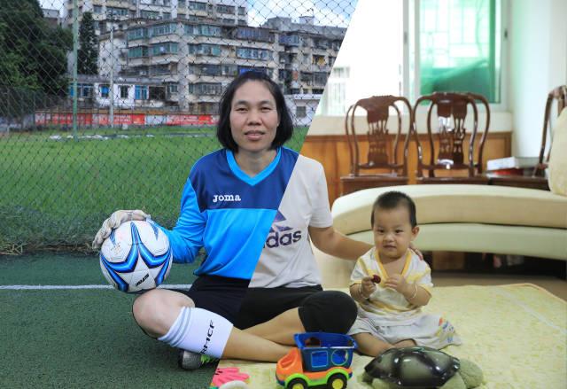 姓名:朱燕英 年龄:41岁 职业:教师、足球运动员。(图为工作场景与运动场景拼接)